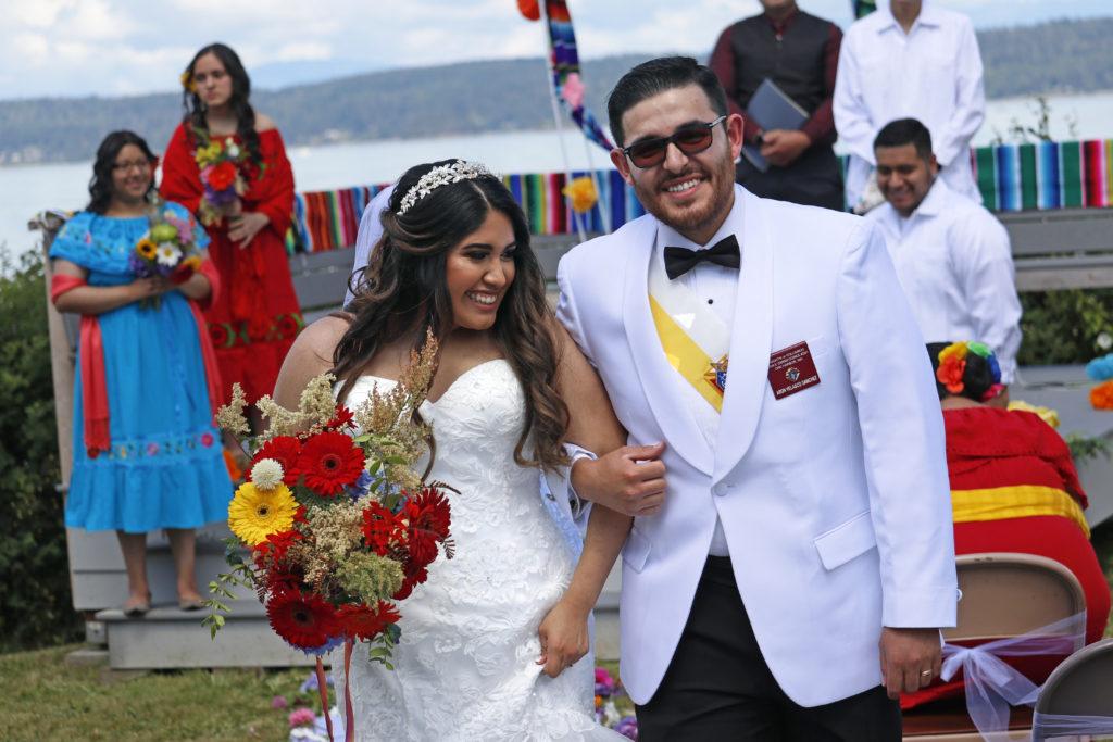 happy couple after Oak Harbor beach wedding